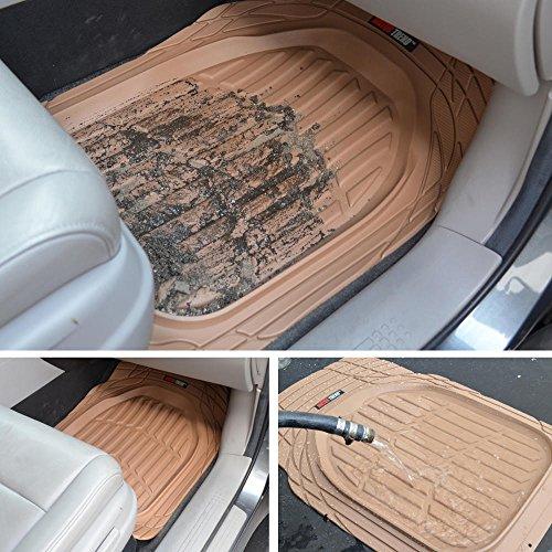 4pc Beige Car Floor Mats Set Rubber Tortoise Liners W