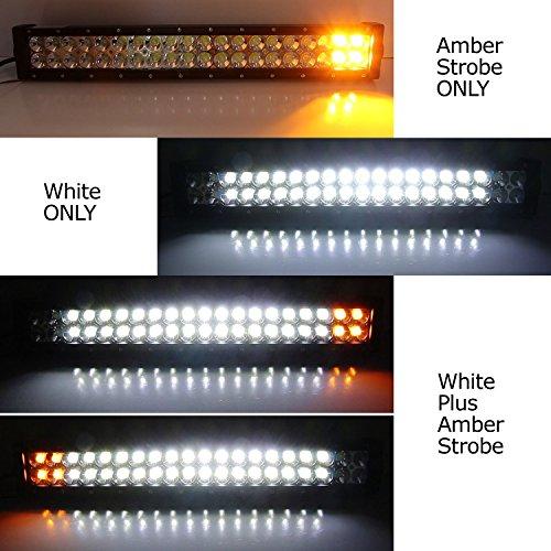 20 120w White Led Light Bar W Amber Strobe Lower Bumper Grill
