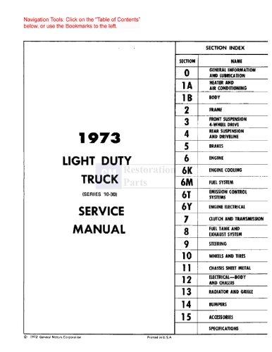 1973 Chevy Truck Shop Service Repair Manual Cd Engine Drivetrain Electrical Oem