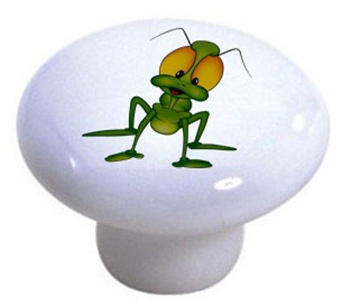Set Of 2 Grasshopper Ceramic Cabinet Drawer Pull Knobs