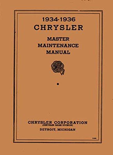 1934 1935 1936 Chrysler Shop Service Repair Manual Engine Drivetrain Electrical