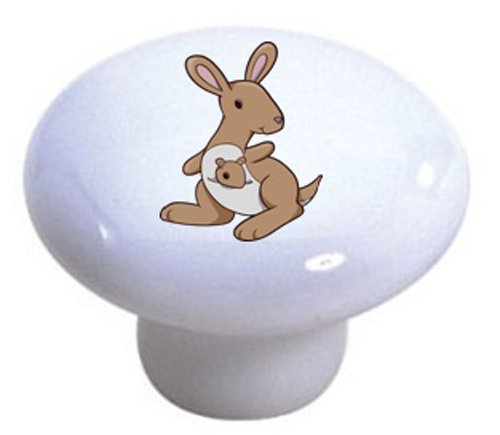 Set Of 2 Cute Tan Kangaroo Ceramic Cabinet Drawer Pull Knobs