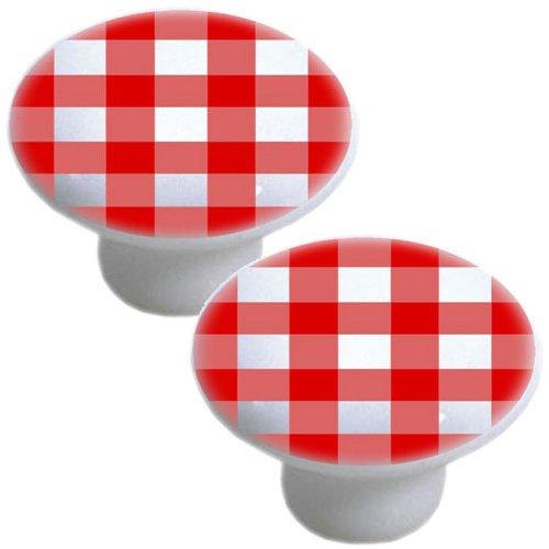 Set Of 2 Red Gingham Ceramic Cabinet Drawer Pull Knobs