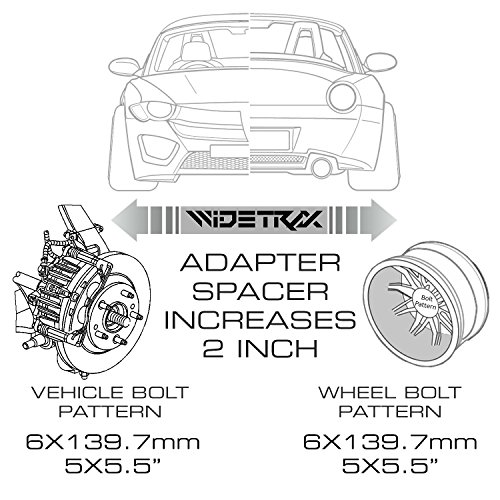 widetrax 2pc 2 6x139 7 or 6x5 wheel spacers adapters 14x1 5 studs lug nuts included titanium