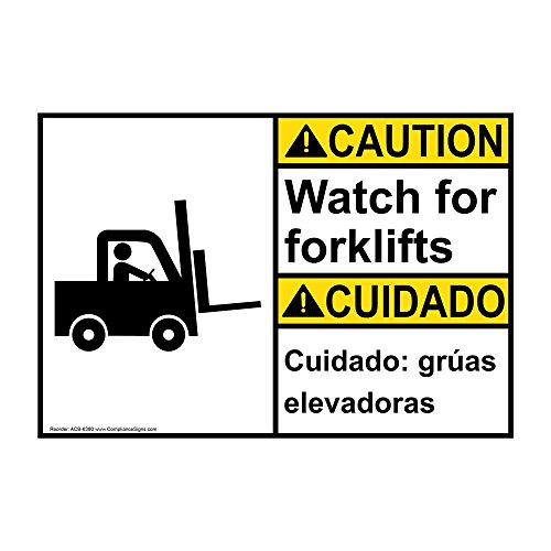 Compliancesigns Plastic Ansi Caution Watch for Forklifts Cuidado Gra As Elevadoras Sign 10 X 7 in with English Spanish Text and Symbol White
