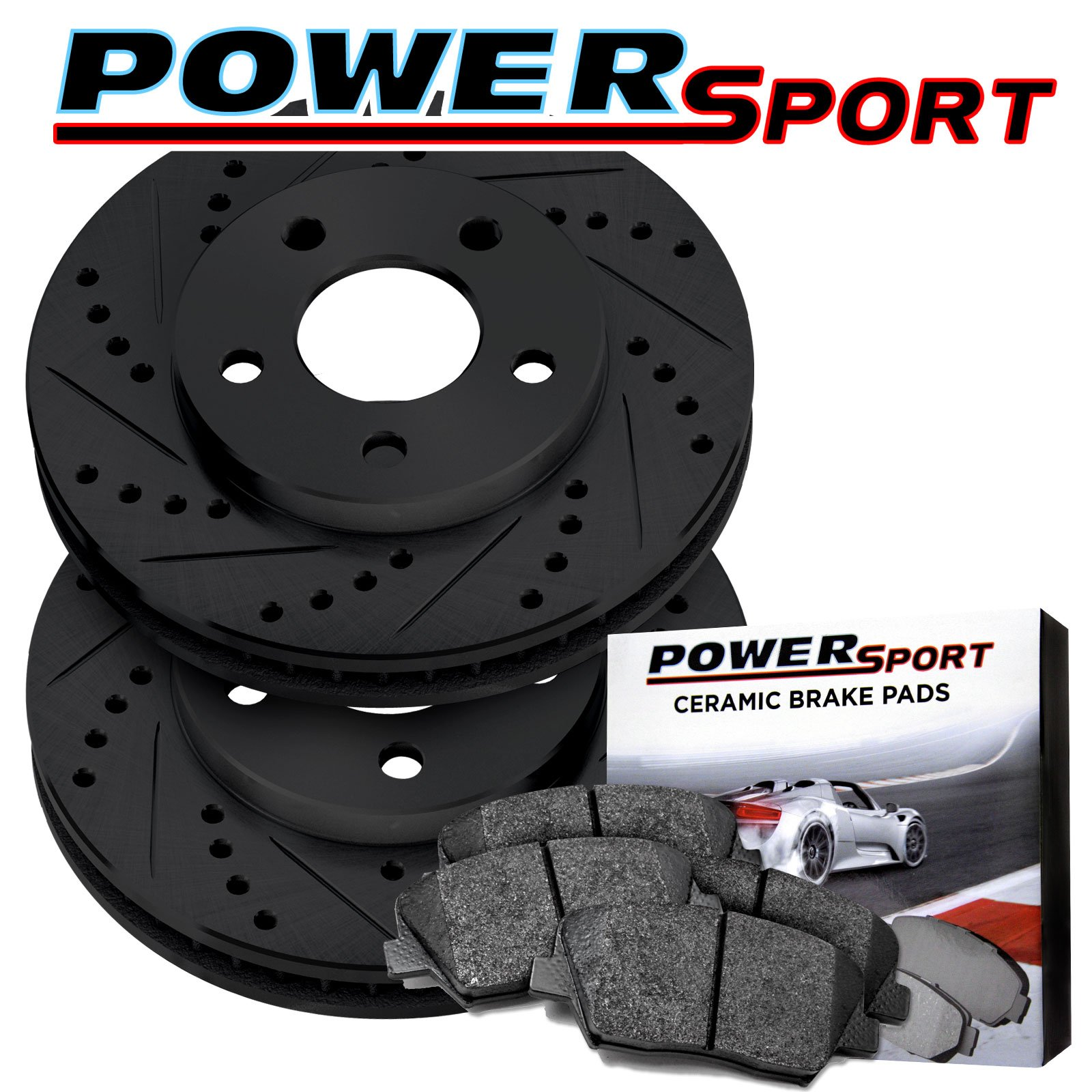 Supercharged Electric Az: Front Black Drilled Slotted Brake Rotors And Ceramic Pads