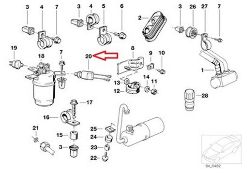 bmw oem safety pressure switch  with wire  e30 64 53 1 386