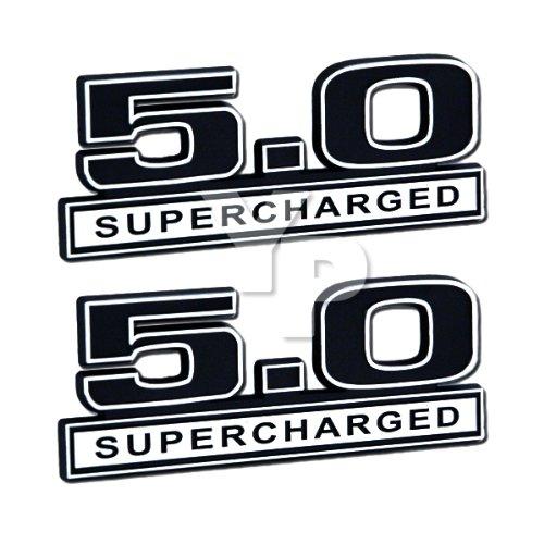 Supercharged Electric Az: Black Chrome 5 0 Supercharged Emblems Pair Universal