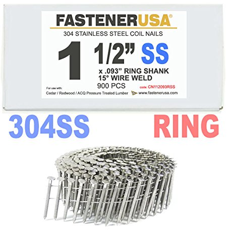 1 1 2 X 093 Ring 304 Stainless Coil Nails 15 Degree Wire