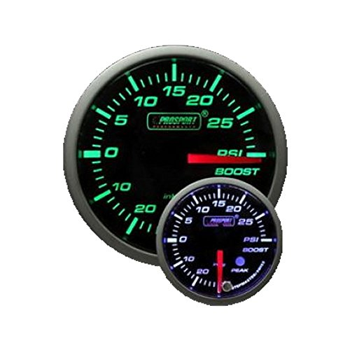 Supercharged Electric Az: Boost Gauge- Electrical Green/white Premium Series With