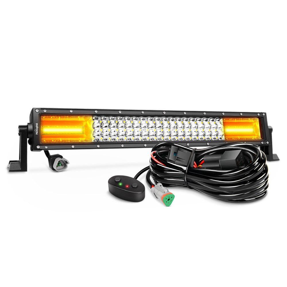 Outdoor Flood Lights Wont Turn Off: LED Light Bar Nilight 22Inch 270W White & Amber Flash