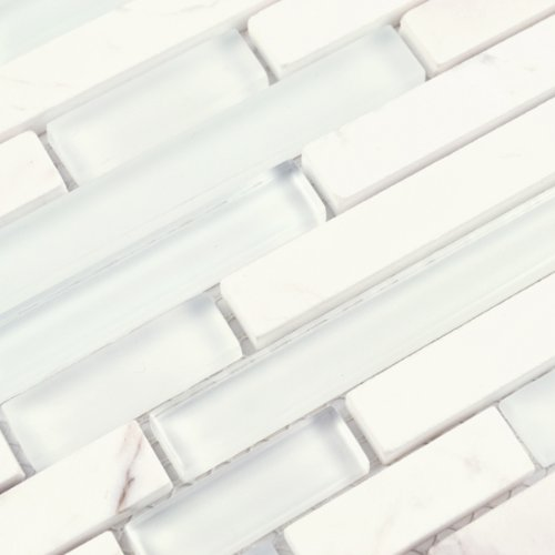 Sample Carrara White Marble Mint Glass Random Linear: Glass Tile And Slate Blend Brown Stone Linear Series Coco