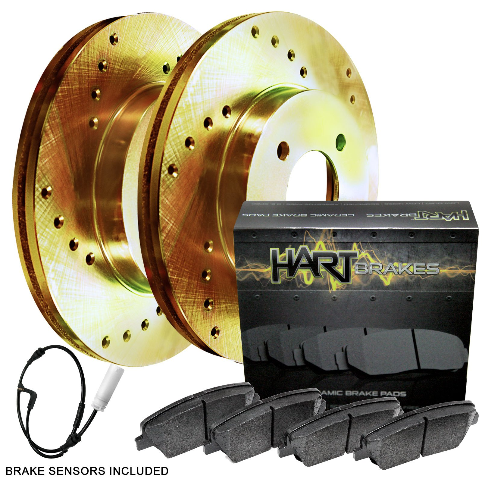 Supercharged Electric Az: 2010-2010 XF Front Gold Hart Drilled Slotted Brake Rotors