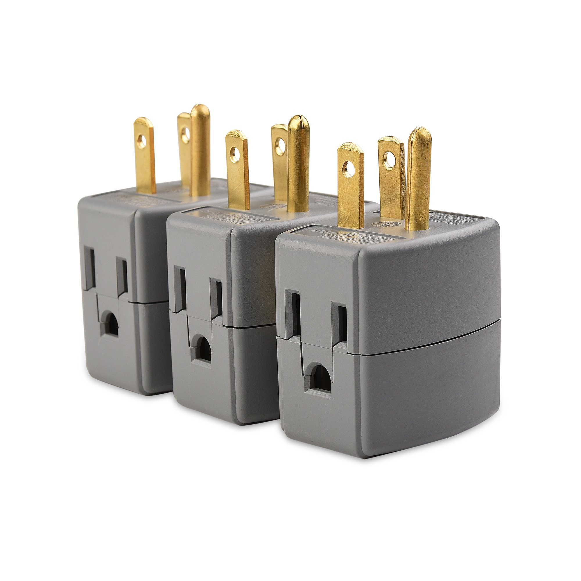 Maxxima 3 Grounded Multi Outlet Adaptor Wall Plug Turn One