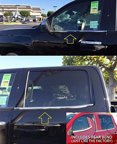 2016 Chevrolet Silverado 1500 Crew Cab Head Gasket: Sizver Polished Stainless Steel Window Sills Trims For