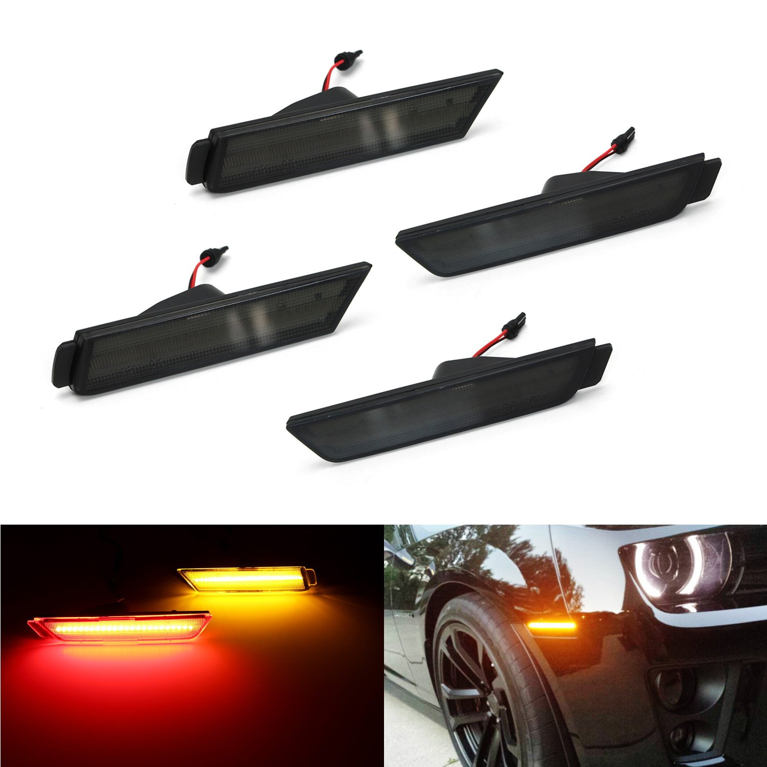 Ijdmtoy 4 Smoked Lens Front Rear Side Marker Lamps With 96