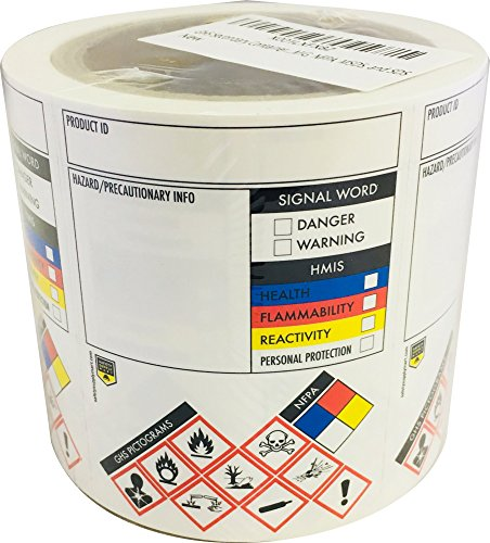 GHS Secondary Container Labels/Stickers, 250 Per Roll, 3 X